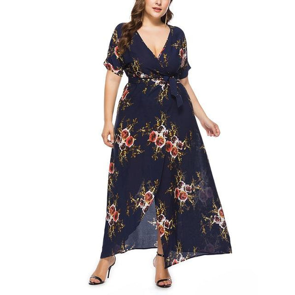 Long Floral Printed Boho Dress dress Navy blue 4XL