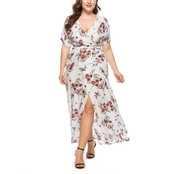 Long Floral Printed Boho Dress dress White 4XL