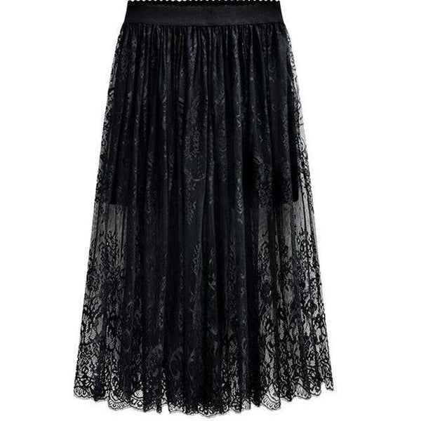 Long Lace High Waist Skirts skirts Black M