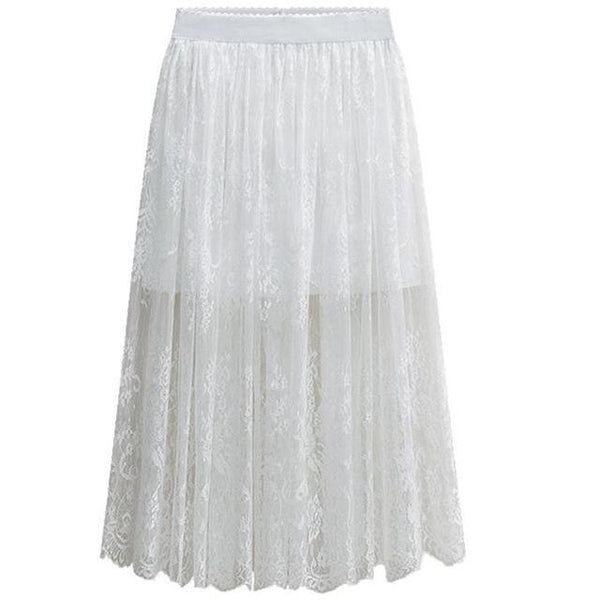 Long Lace High Waist Skirts skirts White M