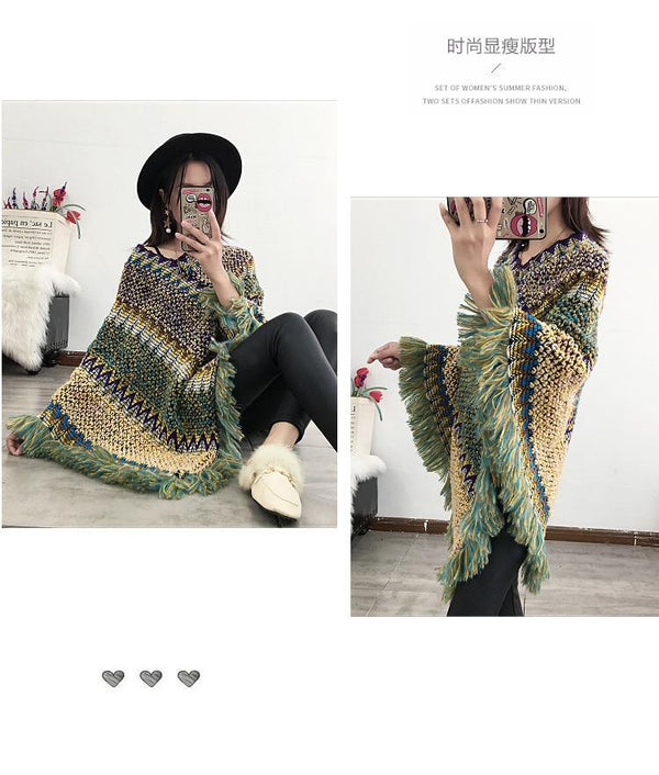 Long Pullover Loose Poncho Sweater Tops