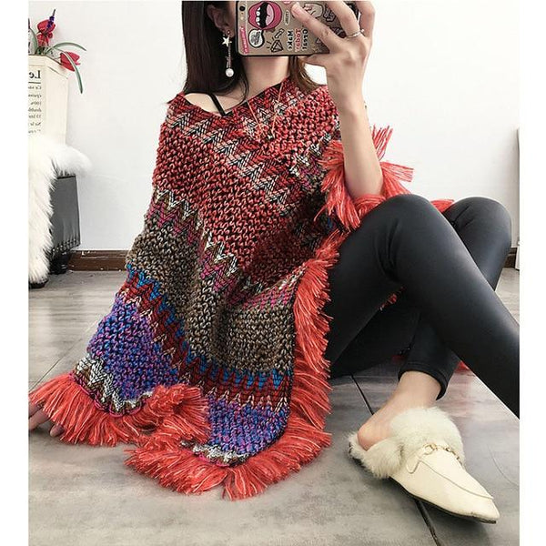 Long Pullover Loose Poncho Sweater Tops One Size Red