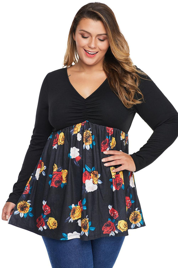 Long Sleeve Babydoll Style High Waist Plus Size Tunic Tops Black 1X