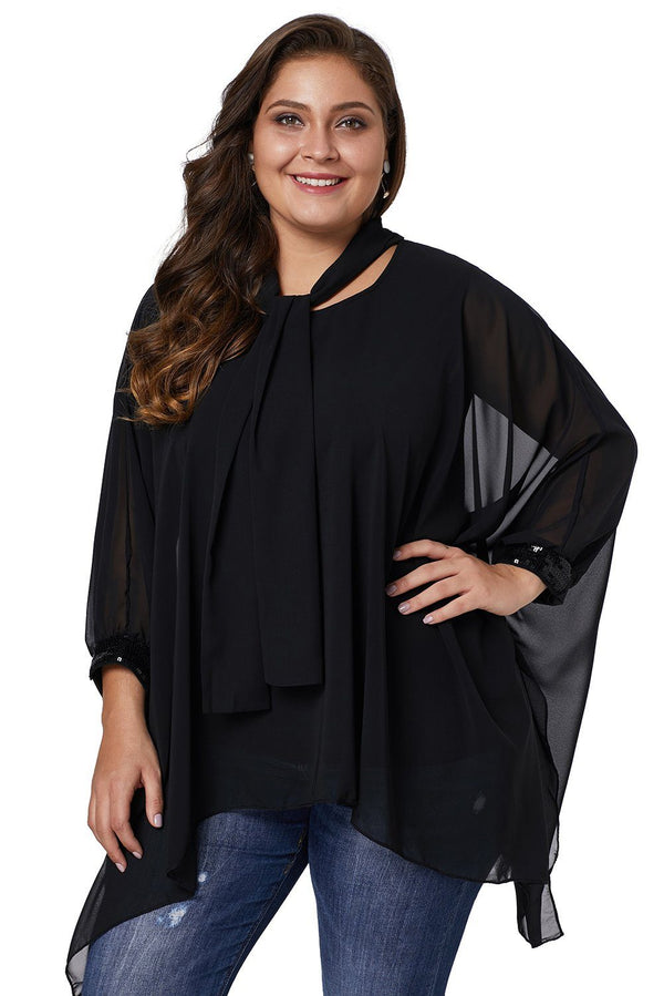 Long Sleeve Chiffon Overlay Plus Size Blouse Tops