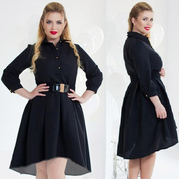 Long Sleeve Elegant Loose Dress dress black L