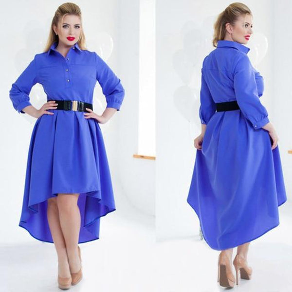 Long Sleeve Elegant Loose Dress dress blue L