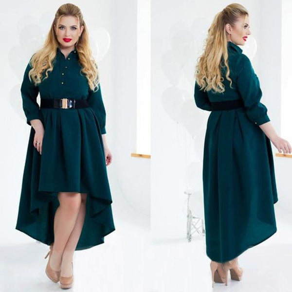 Long Sleeve Elegant Loose Dress dress green L