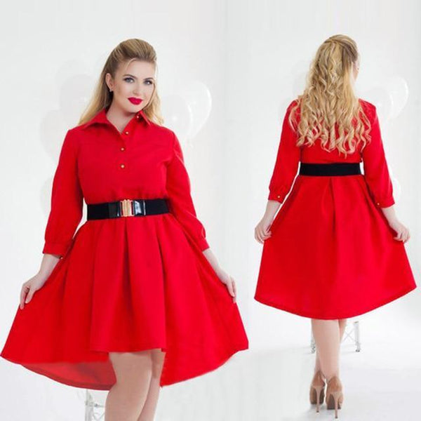 Long Sleeve Elegant Loose Dress dress Red L