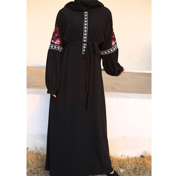 Long Sleeve Embroidery Casual Dress dress Black M