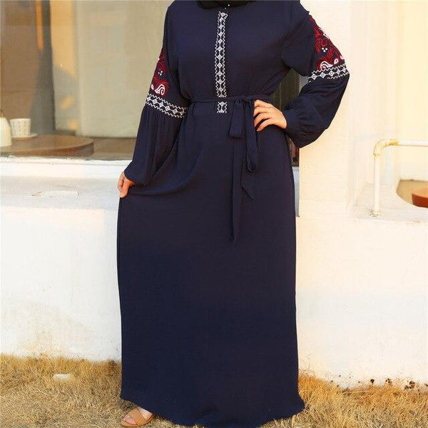 Long Sleeve Embroidery Casual Dress dress Blue S