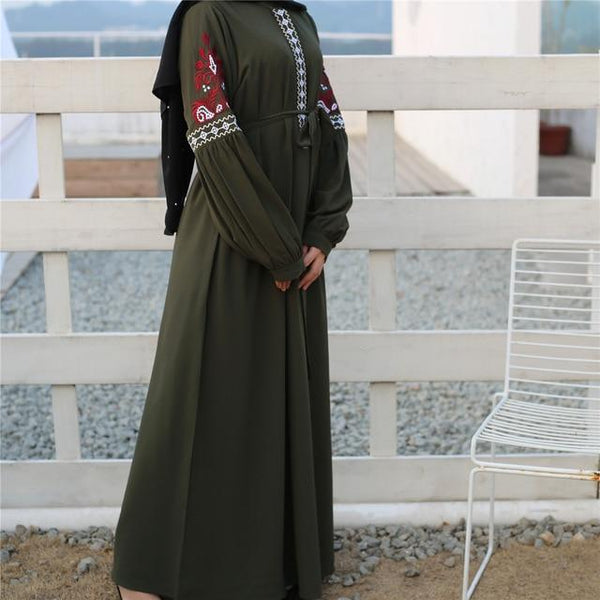 Long Sleeve Embroidery Casual Dress dress green XL