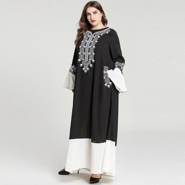 Long Sleeve Embroidery Contrast Color Elegant Dress dress