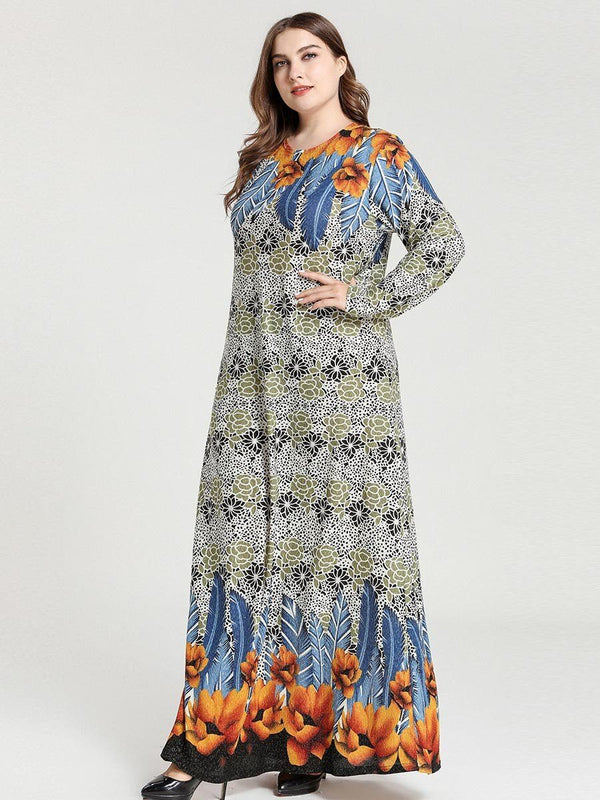 Long Sleeve Floral Print Long Dress dress