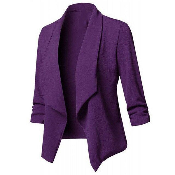 Long Sleeve Formal Office Cardigan jacket Purple M