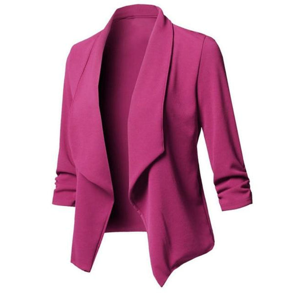 Long Sleeve Formal Office Cardigan jacket Rose Red S