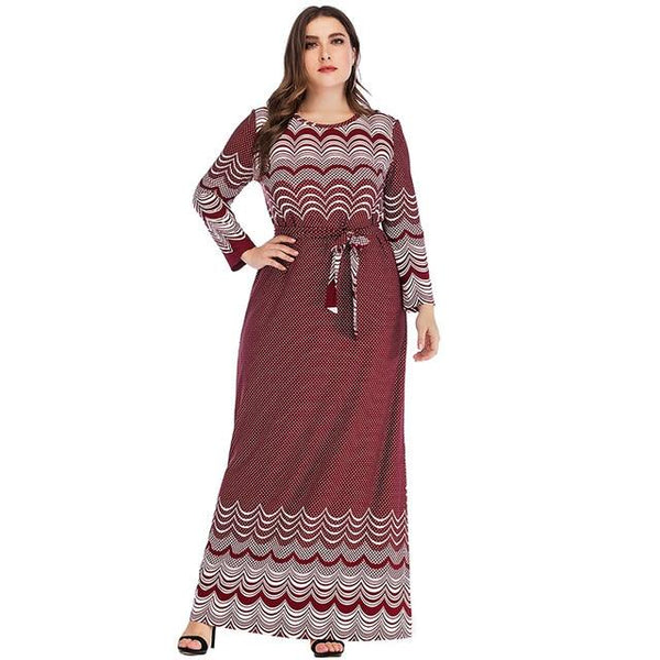 Long Sleeve Geometric Retro Printing Vintage Dress dress Red XL