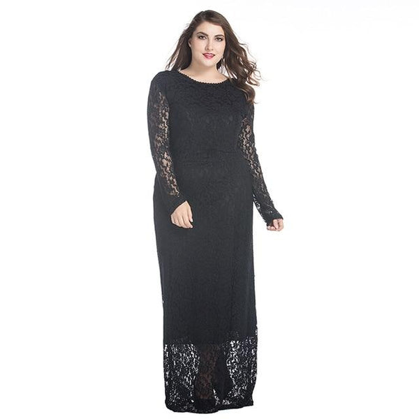 Long Sleeve Lace Hollow Out Floor Length Party Dress dress Black XL