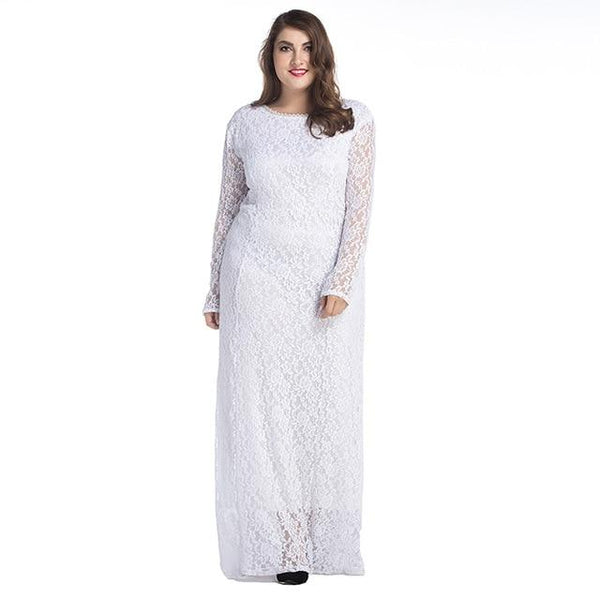 Long Sleeve Lace Hollow Out Floor Length Party Dress dress White XXL