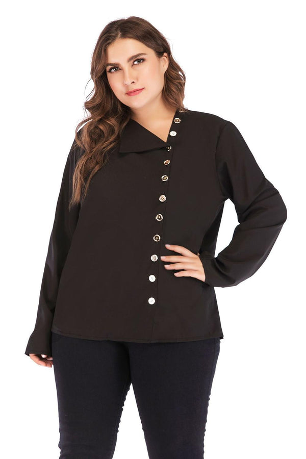 Long Sleeve Loose Button Blouse Tops