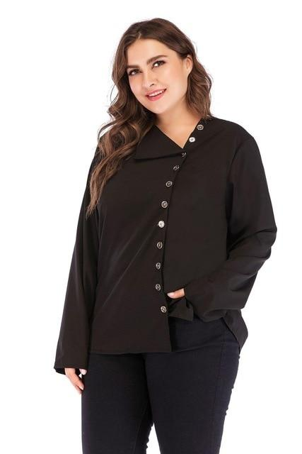 Long Sleeve Loose Button Blouse Tops Black 5XL