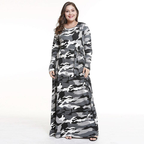 Long Sleeve O Neck Camouflage Print Vintage Dress dress