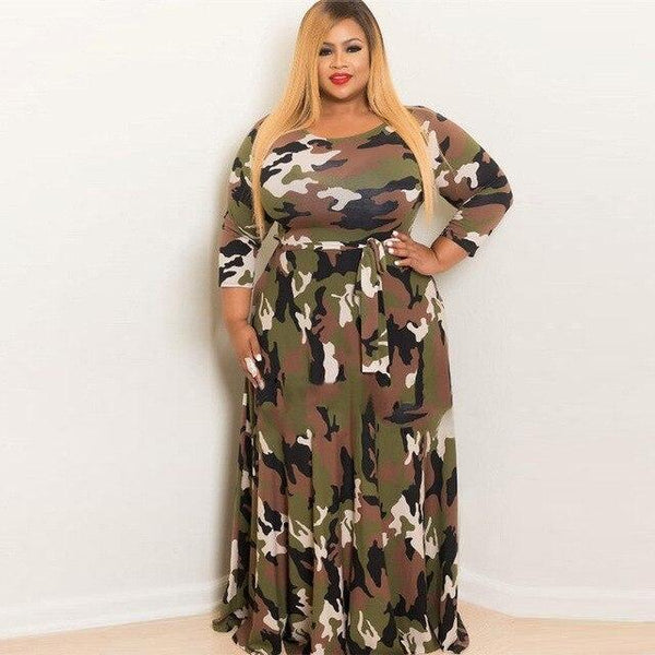 Long Sleeve O Neck Camouflage Print Vintage Dress dress Army Green L