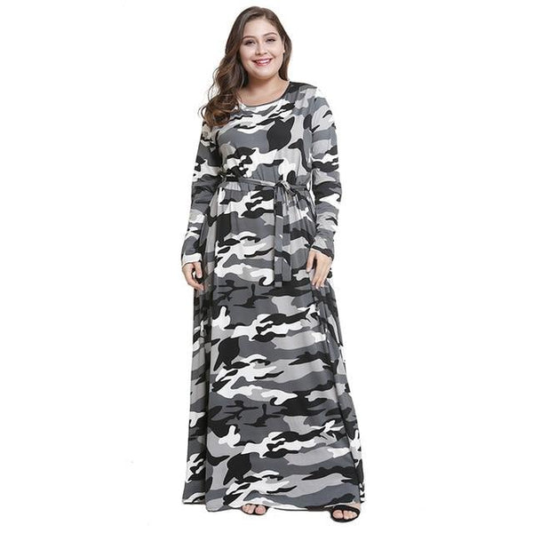 Long Sleeve O Neck Camouflage Print Vintage Dress dress Gray L