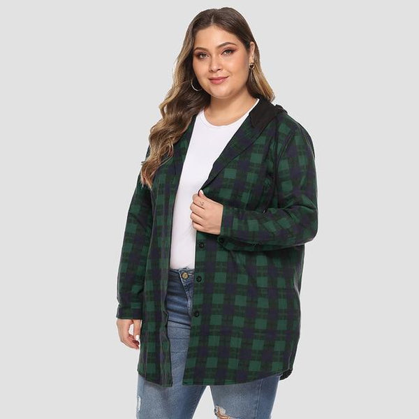 Long Sleeve Plaid Print Hooded Jacket jackets green XXXL