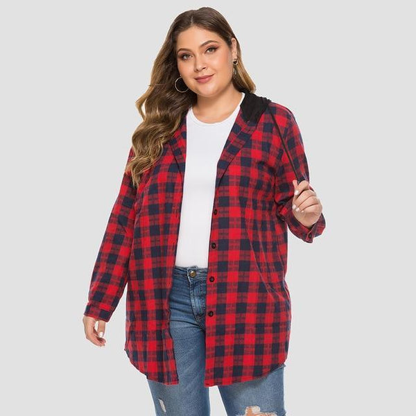 Long Sleeve Plaid Print Hooded Jacket jackets Red XL