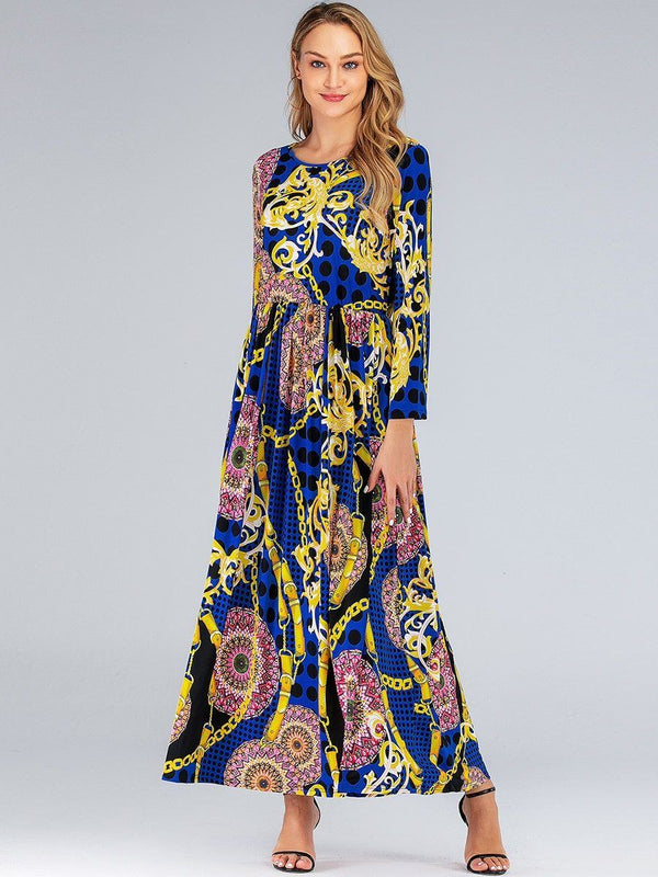 Long Sleeve Retro Printing Vintage Dress dress