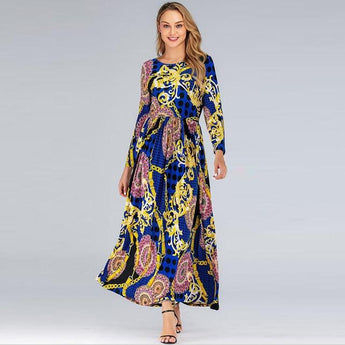 Long Sleeve Retro Printing Vintage Dress dress as picture XL