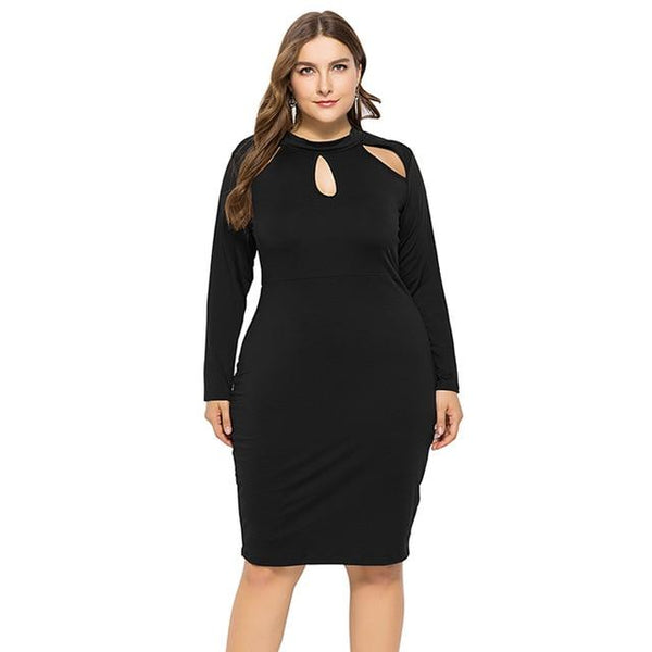 Long Sleeve Slim Bodycon Dress dress Black XL