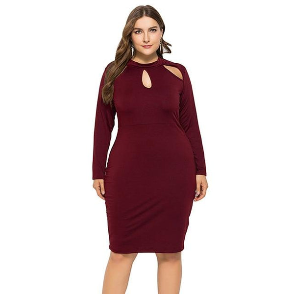 Long Sleeve Slim Bodycon Dress dress Burgundy XL