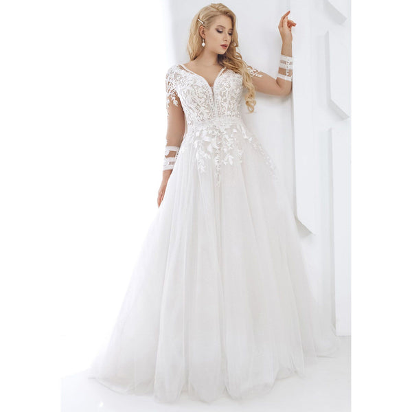 Long Sleeve V Neck Lace Wedding Dress wedding dress