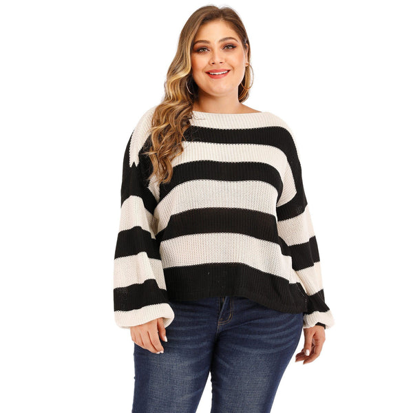 Long Sleeve White And Black Striped Knit Sweater sweater