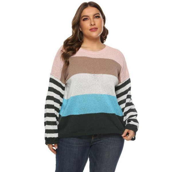 Long Sleeve Winter Striped Sweaters sweater green L