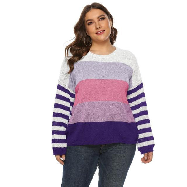 Long Sleeve Winter Striped Sweaters sweater Purple XXL