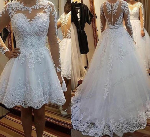 Long Sleeves 2 In 1 Boho Applique Lace Wedding Dress wedding