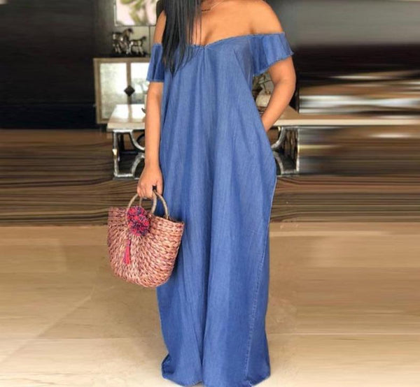 Long V-Neck Denim Off Shoulder Dress dress