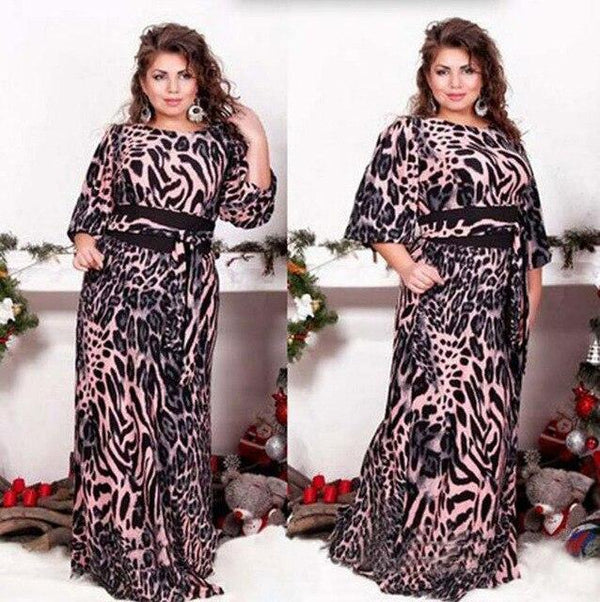 Loose Animal Print Party Gown gown Black XL