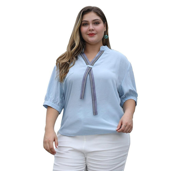 Loose Casual Short Sleeve V-Neck Blouse blouse