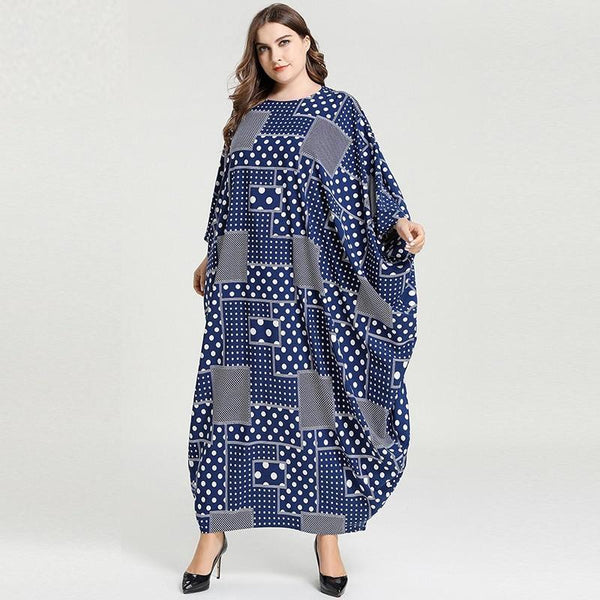 Loose Long Sleeve Dot Plaid Print Dress dress