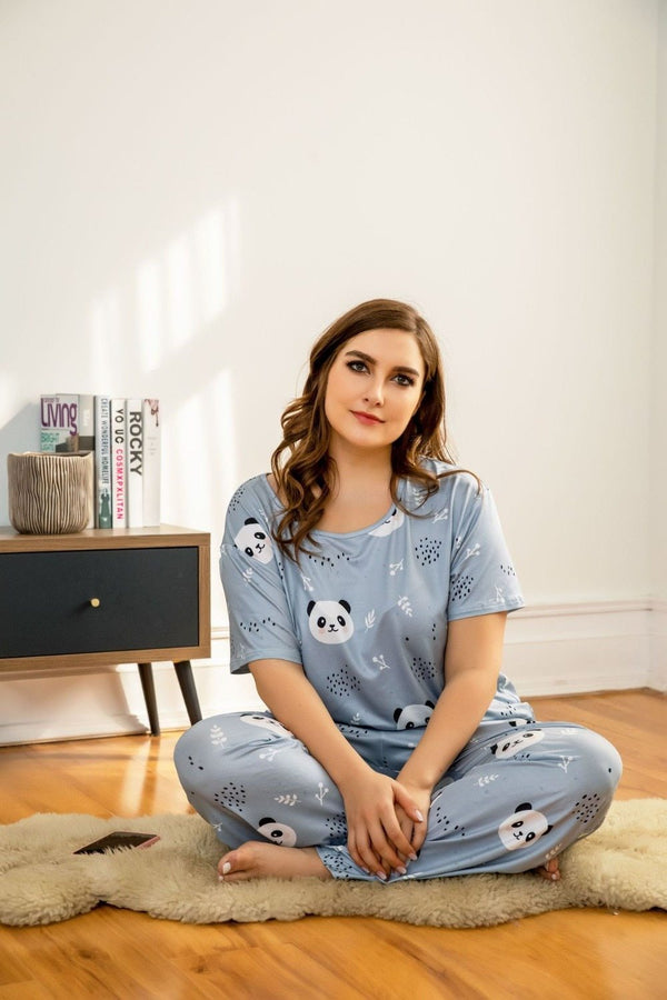 Loose Panda T Shirt and Long Pants Pajamas sleepwear