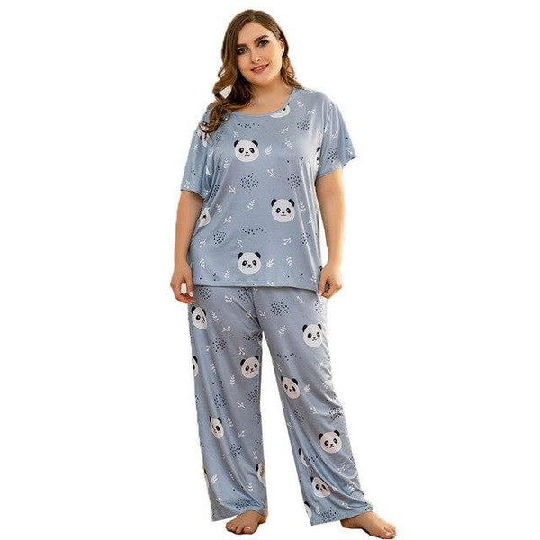 Loose Panda T Shirt and Long Pants Pajamas sleepwear Blue 4XL