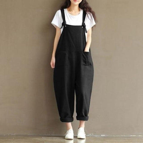 Loose Solid Jumpsuit Strap Harem Trousers jumpsuits Black M