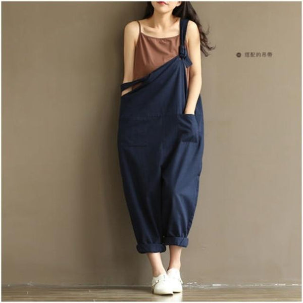 Loose Solid Jumpsuit Strap Harem Trousers jumpsuits Blue M