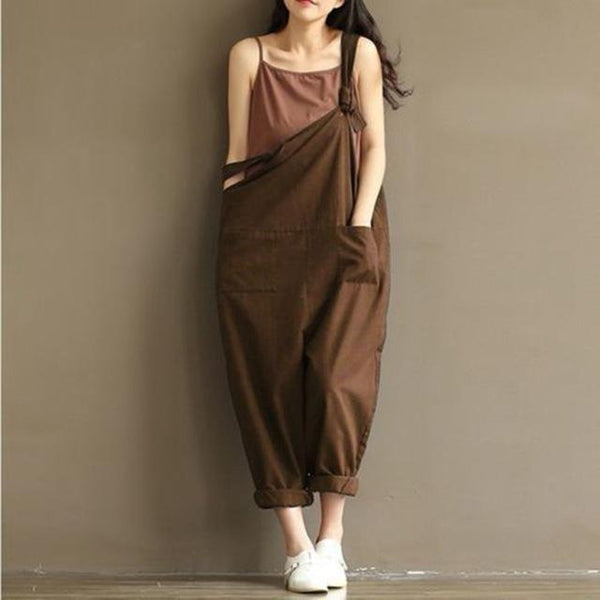 Loose Solid Jumpsuit Strap Harem Trousers jumpsuits Coffee M
