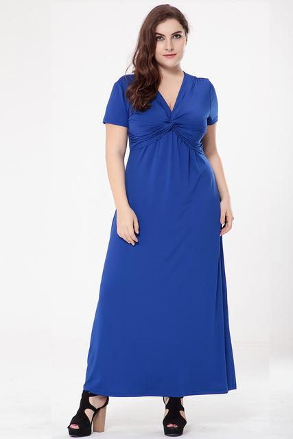 Loose Solid V-Neck Short Sleeve Dress dress Blue XL