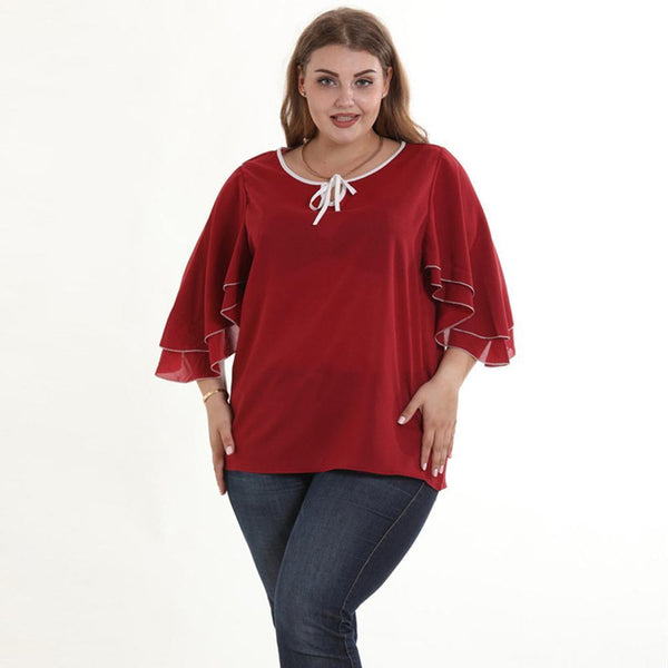 Lotus Leaf 3/4 Sleeve Chiffon Blouse Tops
