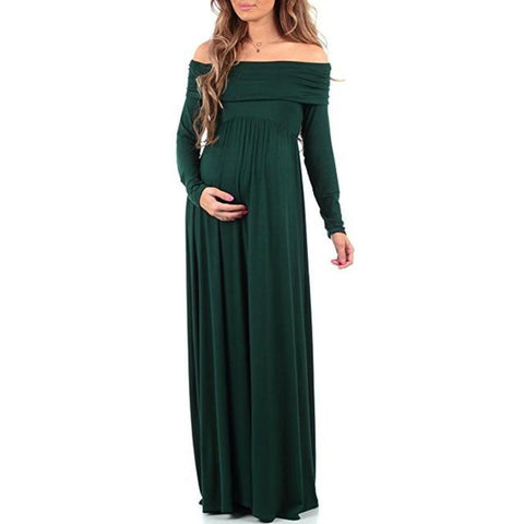 Maternity Bohemian Style Off Shoulder Props Dress dress Army Green L